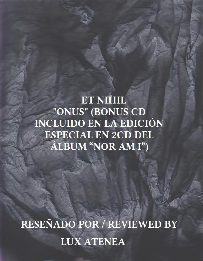 ET NIHIL - ONUS (BONUS CD)