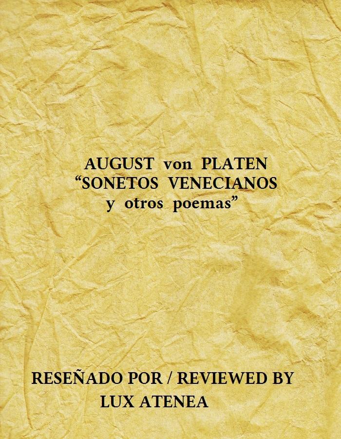 AUGUST von PLATEN - SONETOS VENECIANOS y otros poemas