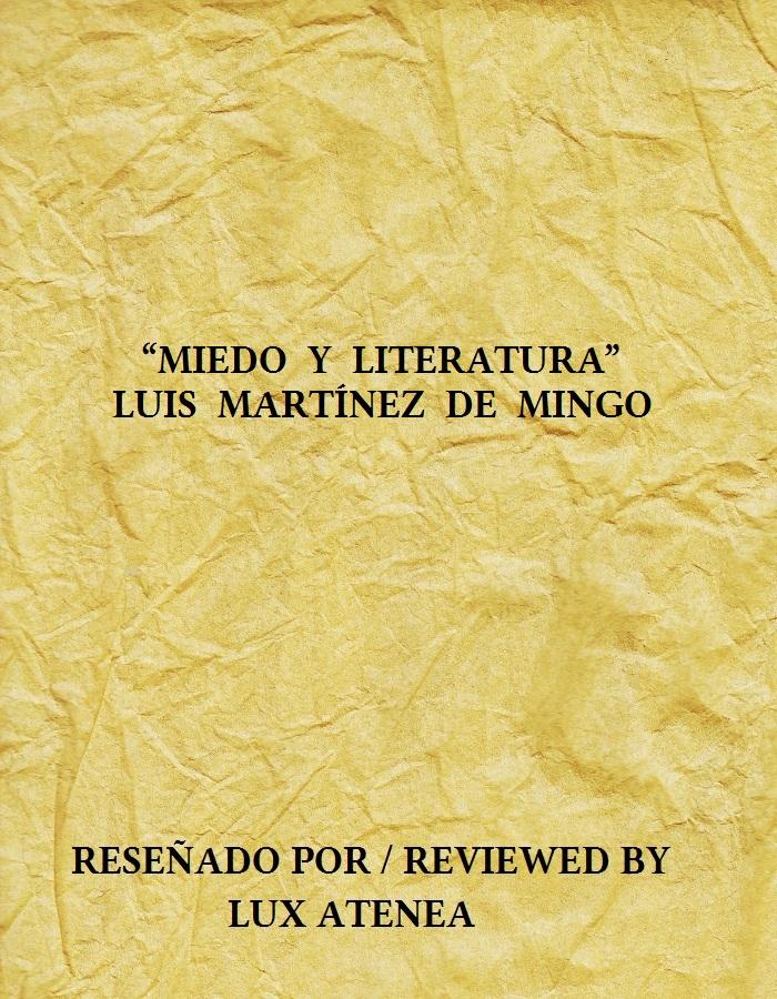 MIEDO Y LITERATURA LUIS MARTÍNEZ DE MINGO