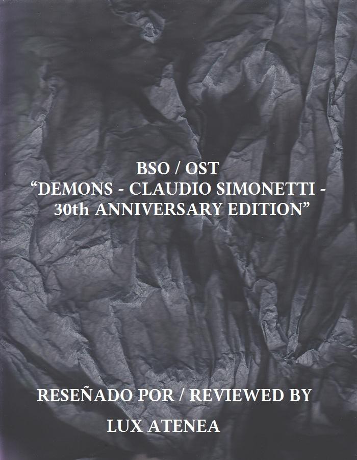 BSO OST - DEMONS CLAUDIO SIMONETTI 30th ANNIVERSARY EDITION